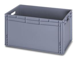EG6432 | AUER eurobak gesloten uitvoering, afm. 60x40x32 cm (lxbxh), handgrepen open, stapelbaar, RAL 7001 zilvergrijs, inhoud 66 l, gewicht 2,41 kg