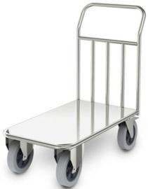 0114192 | HUPFER zwaarlast transportwagen STWP/9,8x5, roestvrijstaal, stapelwand met ronde buizen Ø 25 mm en opgelaste vlakke rvs plaat, afm. laadvlak 850x500 mm (bxd), draagvermogen 500 kg, gewicht 22,42 kg