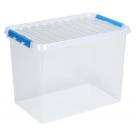 83600611    | SUNWARE Q-Line opbergbox met handgreep, clipsluiting, afm. 600x400x420 mm (bxdxh), 72 liter, transparant/blauw