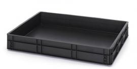 ESD-EG8612-HG | AUER eurobak antistatisch, gesloten uitvoering, afm. 80x60x12 cm (lxbxh), volume 45 l, stapelbaar, RAL 9017 zwart, gewicht 3,68 kg