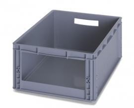SLK6422 | Eurobak met raamopening 31x13 cm, afm. 60x40x22 cm (lxbxh), handgrepen open, stapelbaar, zilvergrijs
