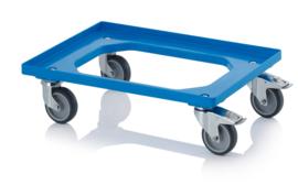 RO64-GU-FE-BW | AUER transportroller COMPACT voor stapelbare Eurobakken 60x40 cm of 30x40 cm, 4x rubber zwenkwielen ø 10 cm 2x geremd, wielvorken gegalvaniseerd, draagvermogen 250 kg, kleur blauw RAL 5015, gewicht 3,7 kg