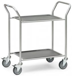 5032 | BRAUCKE serveerwagen met uitneembare serveerbladen, 2-etages, laadvlak 610x430 mm, draagvermogen 60 kg, gewicht 14 kg