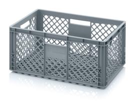 EO6427 | AUER eurobak met geperforeerde bodem en wanden, afm. 60x40x27 cm (lxbxh), RAL 7001 zilvergrijs, inhoud 54 l, gewicht 1,79 kg, fabrieksgarantie 2 jr