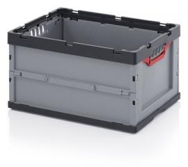 FB6432 | AUER euro-vouwbak zonder deksel, afm. 60x40x32 cm (lxbxh), volume 67 l, handgrepen open, stapelbaar, RAL 7001 zilvergrijs/RAL 71016 antracietgrijs, gewicht 3,08 kg