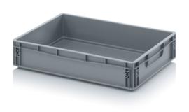EG6412-HG | AUER eurobox gesloten uitvoering, afm. 60x40x12 cm (lxbxh), handgrepen gesloten, stapelbaar, RAL 7001 zilvergrijs, inhoud 24 l, gewicht 1,26 kg