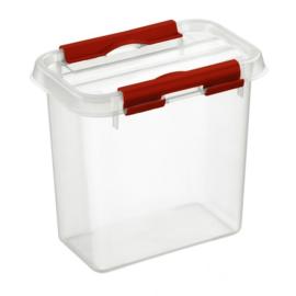 72601205 | SUNWARE Q-Line opbergbox 1,1 liter, transparant/rood, stapelbaar
