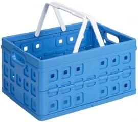 57101611 | SUNWARE Square stapelbare vouwkrat met open handgrepen en draaghengsels, afm. 49x36x25 cm (bxdxh), draagvermogen 30 kg, inhoud 32 liter, kleur blauw/wit, gewicht 1,3 kg