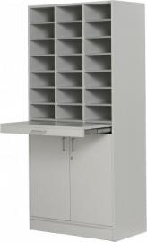 E31G11-S | PRIMA OFFICE postbussenkast Classic IP-925/D, vloermodel, 3 kolommen, 21 afsluitbare postbusvakken 115 mm hoog, afsluitbare draaideuronderkast met tussenlegbord en uittrekbaar werkblad, decor grijslaminaat