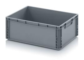 EG6422-HG | AUER eurobox gesloten uitvoering, afm. 60x40x22 cm (lxbxh), handgrepen gesloten, stapelbaar, RAL 7001 zilvergrijs, inhoud 45 l, gewicht 1,76 kg
