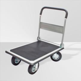 20029 | DEMA platformwagen van staal met klapbare softgrip duwbeugel en vaste rubber antislipmat, laadvlak 790x600 mm (lxb), draagvermogen 300 kg, zwart rubber luchtbandwielen, gewicht 23,9 kg