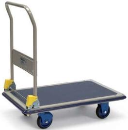 5121101 | PRESTAR platformwagen met opklapbare duwbeugel, stalenplaat laadvlak met anti-slipbekleding, afm. 740x480x920 mm (lxbxh), draagvermogen 150 kg, gewicht 12,3 kg
