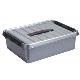 79500628 | SUNWARE Q-Line opbergbox met handgreep, 10,0 liter, metallic/zwart , A4 bodemmaat