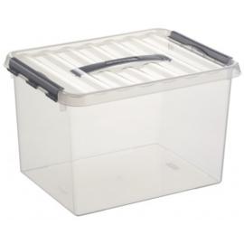 78800609 | SUNWARE Q-Line opbergbox met handgreep, clipsluiting, 22,0 liter, transparant/zwart, A4 bodemmaat