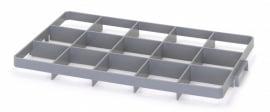 GEF15O | AUER vakverdeler voor eurobox 60x40 cm, 15 vakken, afm. 10,9x11,7 cm (bxd) voor boven, glas ø max. 10,8 cm, RAL 7001 zilvergrijs, fabrieksgarantie 2 jr