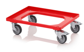 RO64-GU-FE-RD | AUER transportroller COMPACT voor stapelbare Eurobakken 60x40 cm of 30x40 cm, 4x rubber zwenkwielen ø 10 cm 2x geremd, wielvorken gegalvaniseerd, draagvermogen 250 kg, kleur rood RAL 3020, gewicht 3,7 kg