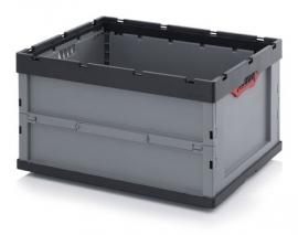 FB86445 | AUER vouwbak zonder deksel, afm. 80x60x44,5 cm (lxbxh), handgrepen open, stapelbaar, zilvergrijs/antraciet