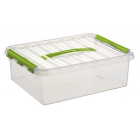 79500661 | SUNWARE Q-Line opbergbox met handgreep, 10,0 liter, transparant/groen , A4 bodemmaat