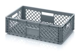 EO6417 | AUER eurobak met geperforeerde bodem en wanden, afm. 60x40x17 cm (lxbxh), RAL 7001 zilvergrijs, inhoud 33 l, gewicht 1,39 kg, fabrieksgarantie 2 jr