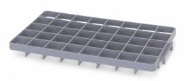 GEF40O | AUER vakverdeler voor eurobox 60x40 cm, 40 vakken afm. 6,7x6,7 cm (bxd) voor boven, glas ø max. 6,5 cm, RAL 7001 zilvergrijs