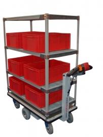 0403003 | FLEXY CART elektrische etagewagen EWK4, aandrijving 24Vdc 350W, kunststof opbouw met 4 etages, 1060x600x1600 mm (lxbxh), laadvermogen 500 kg