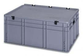 ED8632 | AUER eurobak met scharnierend deksel en sluitingen, afm. 80x60x33,5 cm (lxbxh), handgrepen open, stapelbaar, zilvergrijs RAL 7001, volume 130 liter, gewicht 6,79 kg, fabrieksgarantie 5 jr