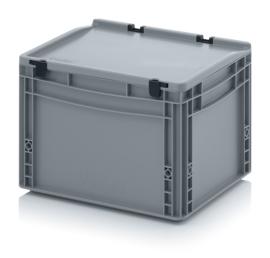 ED4327-HG | AUER eurobak met scharnierend deksel en sluitingen, afm. 40x30x28,5 cm (lxbxh), handgrepen gesloten, stapelbaar, zilvergrijs RAL 7001, volume 26 liter, gewicht 1,82 kg, fabrieksgarantie 5 jr