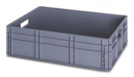 EG8622 | QUALITY BOX eurobak gesloten uitvoering, afm. 80x60x22 cm (lxbxh), handgrepen open, stapelbaar, zilvergrijs, inhoud 87 liter, gewicht 4,27 kg