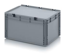 ED6432-HG | AUER eurobak met scharnierend deksel en sluitingen, afm. 60x40x33,5 cm (lxbxh), handgrepen gesloten, stapelbaar, zilvergrijs RAL 7001, volume 6 liter, gewicht 3,16 kg, fabrieksgarantie 5 jr