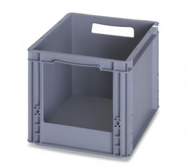 SLK4327 | AUER  eurobak met raamopening 20x17 cm, afm. 40x30x27 mm (lxbxh), handgrepen open, stapelbaar, RAL 7001 zilvergrijs, volume 26 l, gewicht 1,29 kg