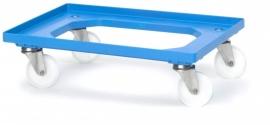 RO64-PA-BW | AUER transportroller voor COMPACT stapelbare Eurobakken 60x40 cm of 30x40 cm, 4x polyamide zwenkwielen ø 10 cm ongeremd, wielvorken gegalvaniseerd, draagvermogen 250 kg, kleur blauw RAL 5015, gewicht 3,7 kg