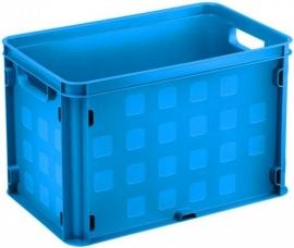 59200011 | SUNWARE multifunctionele gesloten opbergkrat, afm. 40x25x26 cm (lxbxh), inhoud 26 liter, stapelbaar, kleur blauw, eigen gewicht 0,9 kg