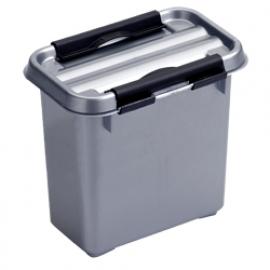 72601228 | SUNWARE Q-Line opbergbox 1,1 liter, metallic/zwart, stapelbaar
