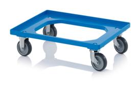 RO64-GU-BO-BW | AUER transportroller COMPACT voor stapelbare Eurobakken 60x40 cm of 30x40 cm, 2x rubber zwenkwielen, 2x rubber bokwielen, ø 10 cm ongeremd, wielvorken gegalvaniseerd, draagvermogen 250 kg, kleur blauw RAL 5015, gewicht 3,7 kg
