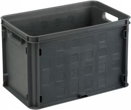 59200336 | SUNWARE multifunctionele gesloten opbergkrat, afm. 40x25x26 cm (lxbxh), inhoud 26 liter, stapelbaar, kleur antraciet, gewicht 0,9 kg