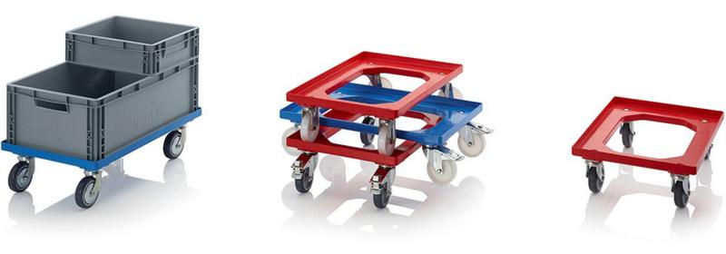 RO64-GU-FE-BW | QUALITY BOX transportroller COMPACT voor stapelbare Eurobakken 60x40 cm of 30x40 cm, 4x rubber zwenkwielen ø 10 cm 2x geremd, wielvorken gegalvaniseerd, draagvermogen 250 kg, kleur blauw RAL 5015, gewicht 3,7 kg
