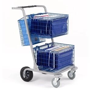 0500006 | VAL-U-MAIL postwagen MT2EL, afm. 775x555x1030 mm (lxbxh), draagvermogen 150 kg, capaciteit 2 draadgaas manden, 1 draadgaas hangmand, fabrieksgarantie 2 jr