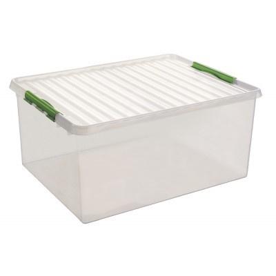 83300661  | SUNWARE Q-Line opbergbox met handgreep, clipsluiting, afm. 800x500x350 mm (bxdxh), 120 liter, transparant/groen