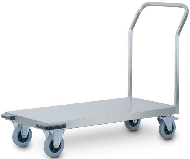 0162578   HUPFER zwaarlast transportwagen TWs/12x6, roestvrijstaal, laadvlak rondom 60 mm omgezet naar beneden, afm. laadvlak 1200x600 mm (bxd), draagvermogen 500 kg, gewicht 27,5 kg