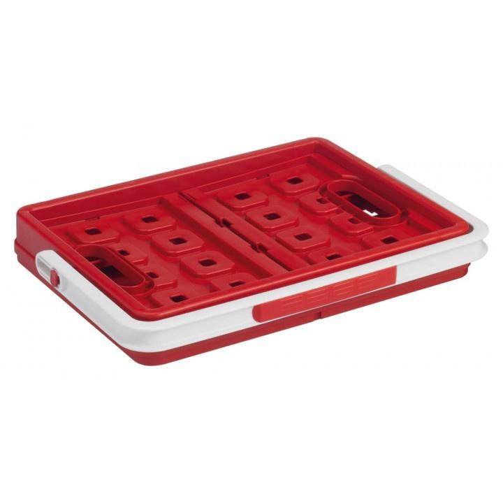 57500605   SUNWARE Square stapelbare vouwkrat met open handgrepen en draaghengsel, afm. 43,5x31x21,3 cm (bxdxh), draagvermogen 15 kg, inhoud 24 liter, kleur rood/wit, gewicht 1,6 kg