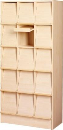 E31176   PRIMA OFFICE Classic Expo tijdschriften- folderkast, 15 vakken met schuine klep, decor berkenlamiaat, afm. 830x400x1800 mm (bxdxh)