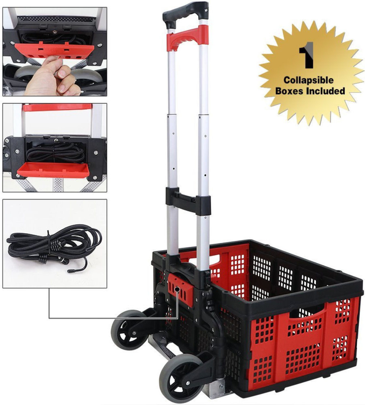 20017   FINETHER height-adjustable aluminum folding 2-wheel hand truck dolly with collapsible box, bungee cord, bungee cord storage case & nose plate safety lock, max. capacity 60 kg