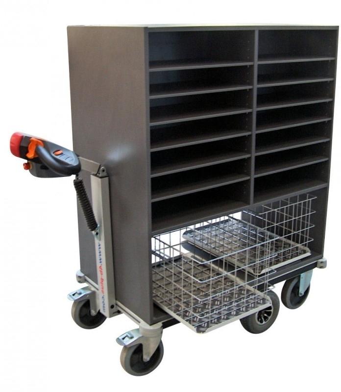 0408003 | FLEXY CART EcoLine elektrische postwagen EPW3EL, aandrijving 24Vdc/400W, 2x2 kolommen sorteerkast 985x600x1200 mm (lxbxh), laadvermogen 500 kg