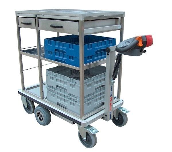 0402006 | FLEXY CART elektrische rvs drankenserveerwagen ESW6, aandrijving 24Vdc/350W, laadvlak 945x570 (lxb), laadvermogen 500 kg, gewicht 94 kg