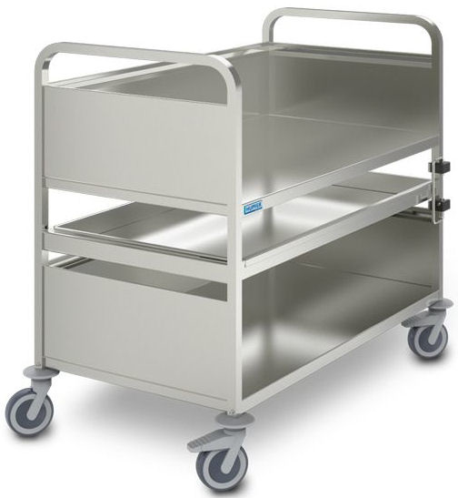 0163056 | HUPFER afruimwagen Multimobil AMM10x6/3 HS, roestvrijstaal met uittrekbaar schap, 3 etages, afm. laadvlak 1000x600 mm (bxd), draagvermogen 155 kg, gewicht 58 kg