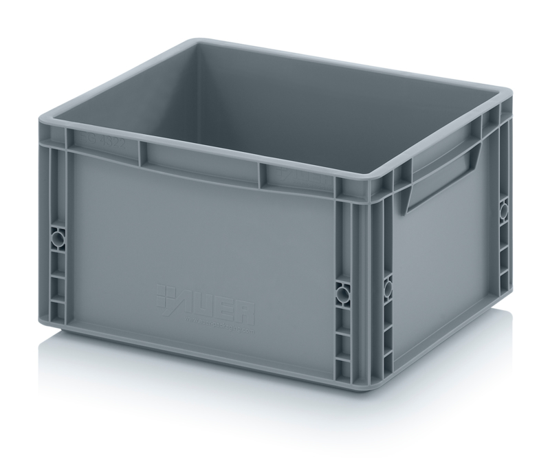 EG4322-HG | AUER eurobak gesloten uitvoering, afm. 40x30x22 cm (lxbxh), handgrepen gesloten, stapelbaar, zilvergrijs, 20 liter, gewicht 1,3 kg