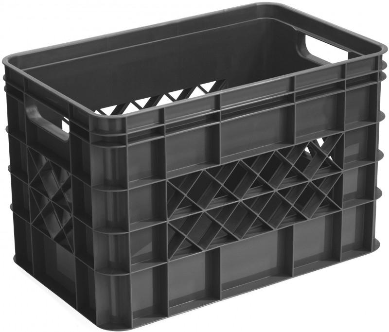 59600336 | SUNWARE Multicrate opberg-/boodschappenkrat, afm. 40x25x26 cm (lxbxh), inhoud 26 liter, stapelbaar, kleur antraciet, gewicht 0,85 kg