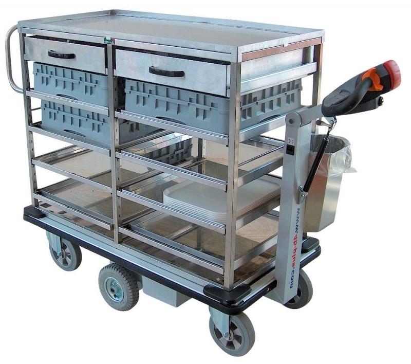 0402007 | FLEXY CART elektrische rvs drankenserveerwagen ESW7, aandrijving 24Vdc/350W, laadvlak 1150x570 mm (lxb), laadvermogen 500 kg, gewicht 98 kg