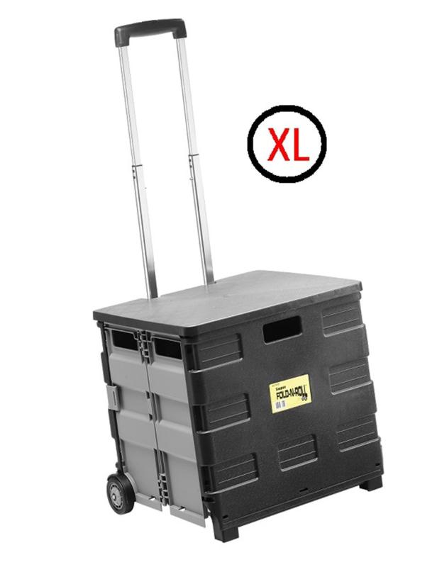 67059-1 | SUPER-FOLD-N-ROLL vouwkrattrolley XL met deksel, max. belasting 35 kg, inhoud ca. 50 liter, uitwendige afm. 43,5x40,5x37/8 cm (bxdxh), kleur zwart-grijs, eigen gewicht 3,4 kg, fabrieksgarantie 1 jr