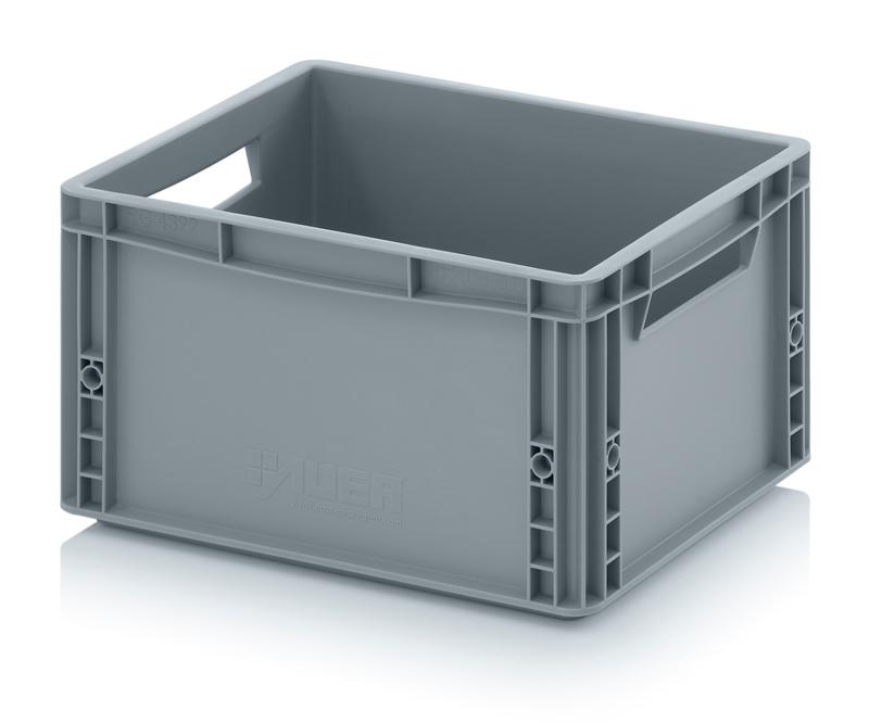 EG4322 | AUER eurobox gesloten uitvoering, afm. 40x30x22 cm (lxbxh), handgrepen open, stapelbaar, RAL 7001 zilvergrijs, inhoud 20 l, gewicht 1,3 kg